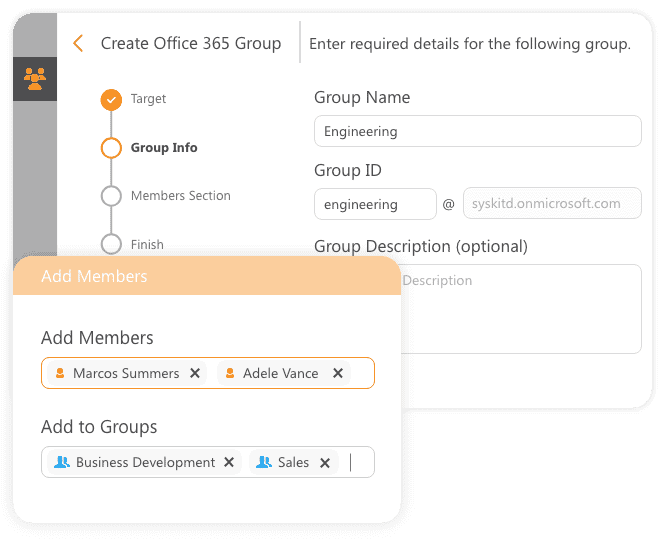 office 365 groups create & add members feature