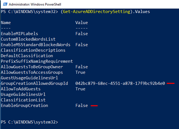 Setting applied to Azure Active Directory