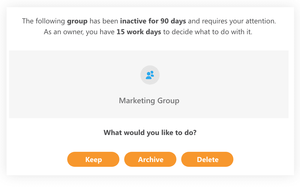 select what to do with inactive Office 365 content