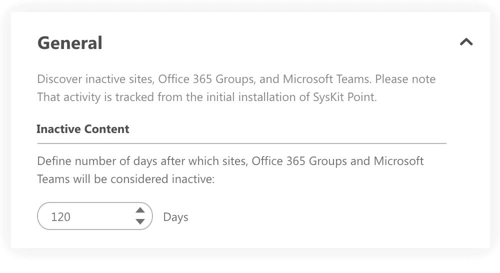 select the number of days after which sites will be marked inactive