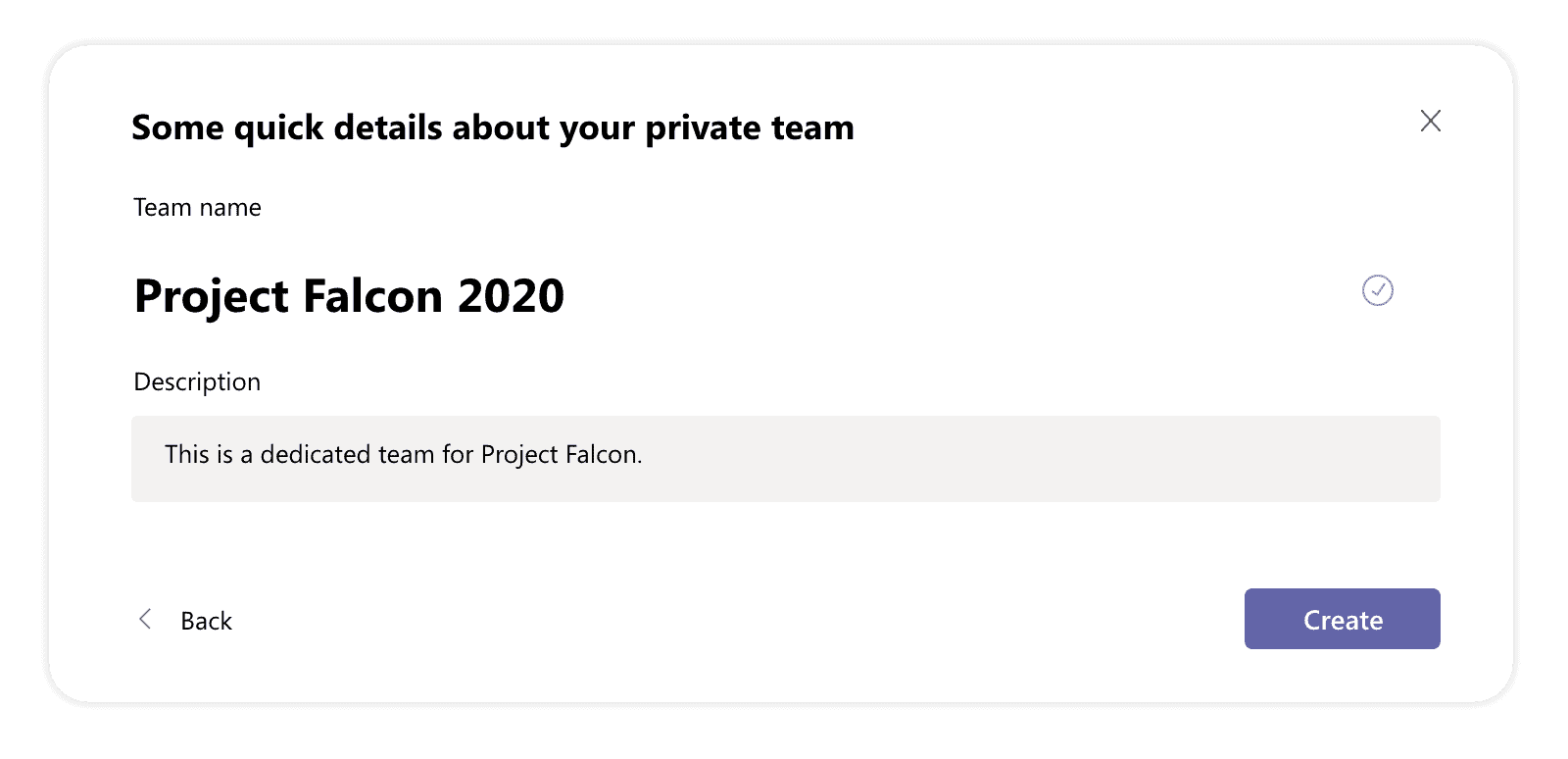 Create a Microsoft Teams team for a project