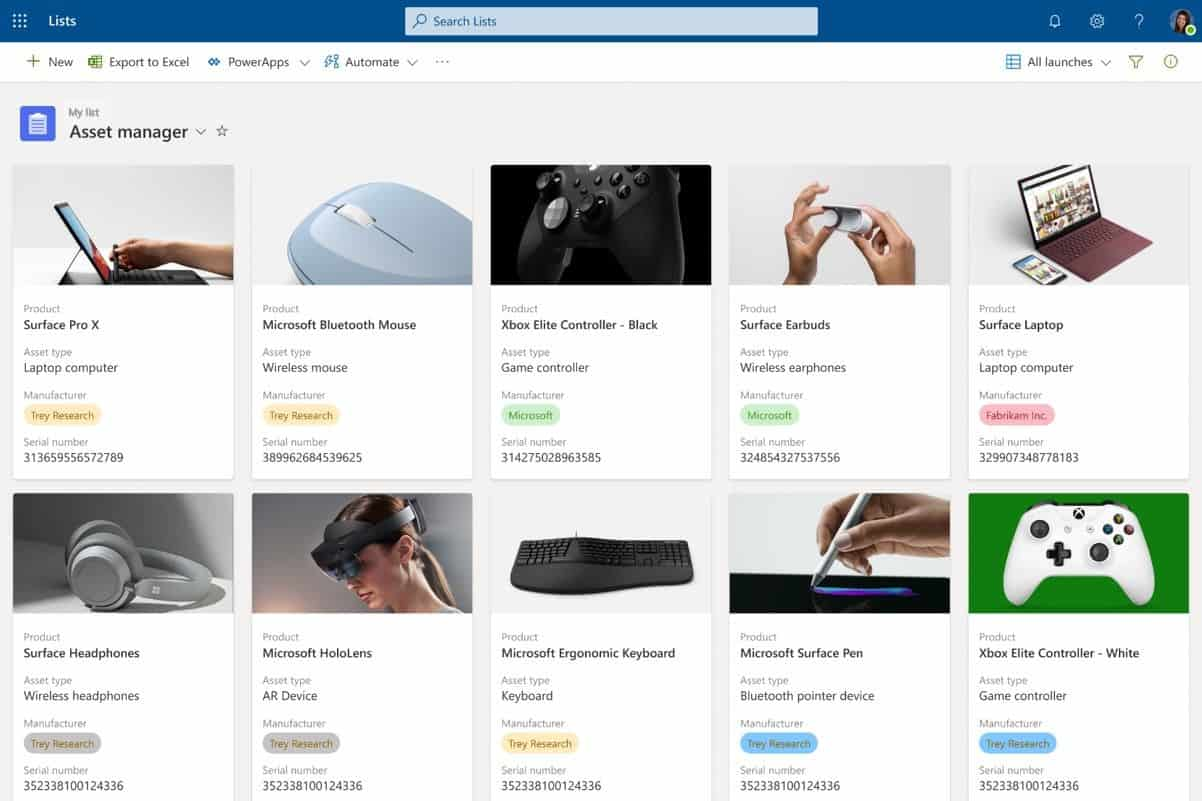 Microsoft Lists Gallery View