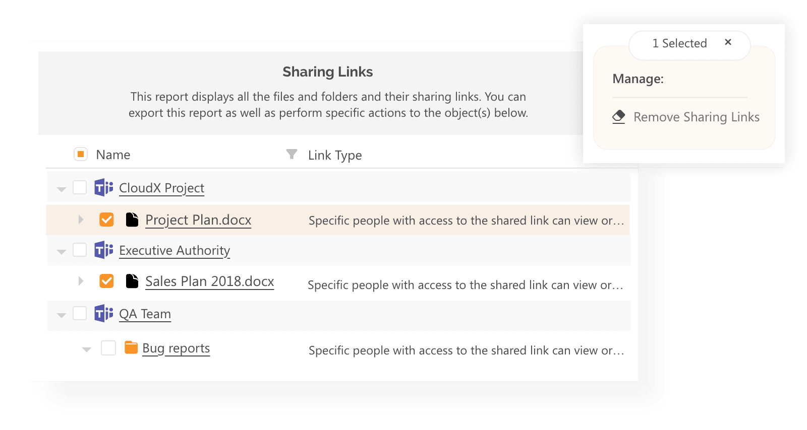 remove sharing links