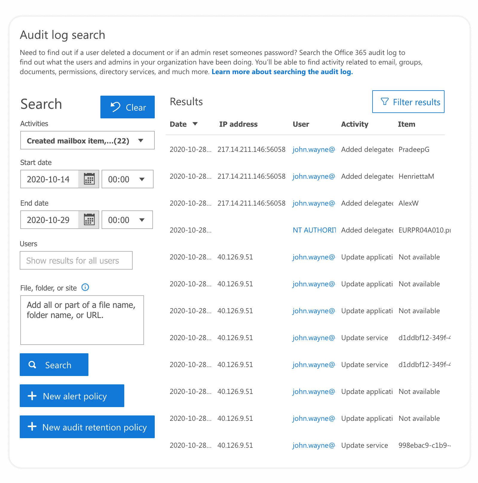 Track mailbox activity with Office 365 audit logs