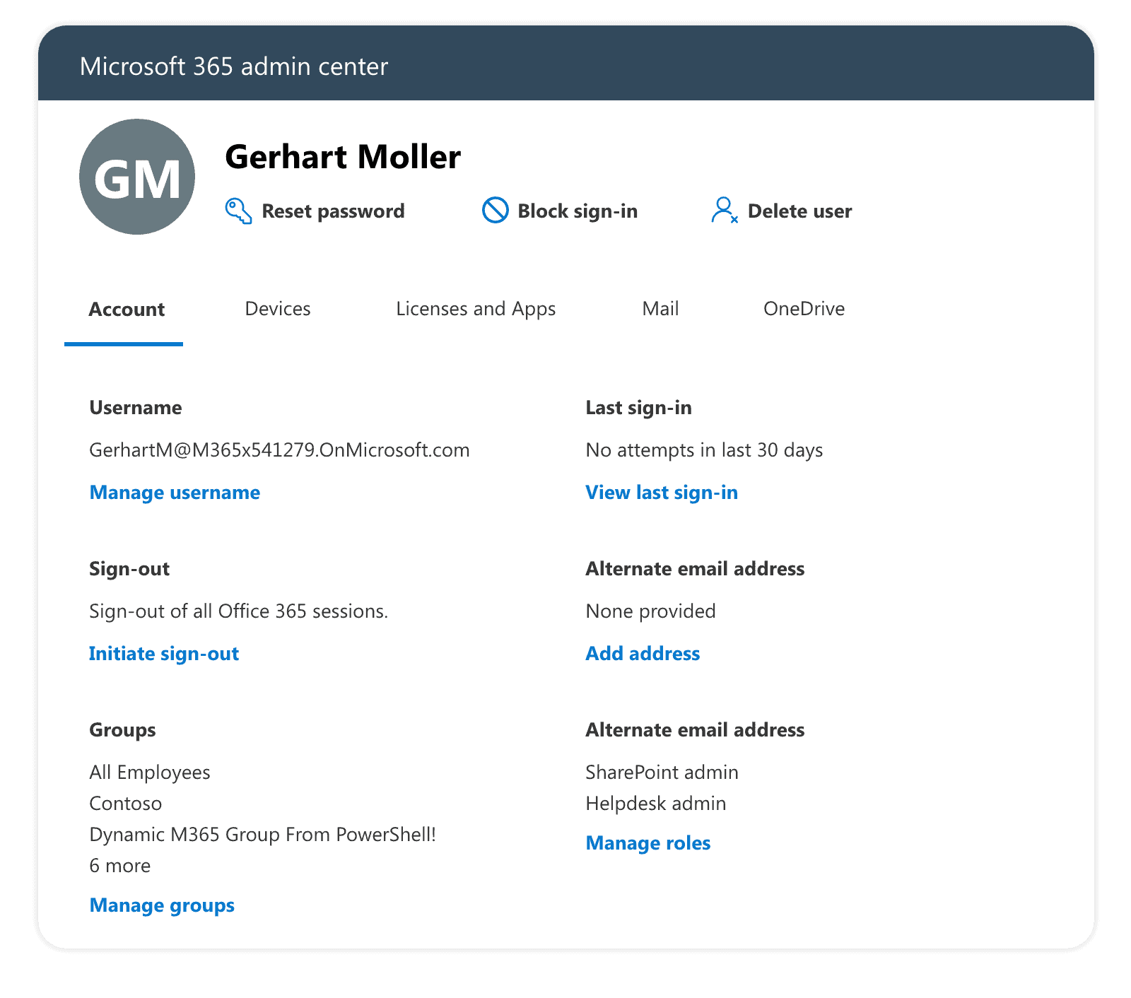 Microsoft 365 admin center user