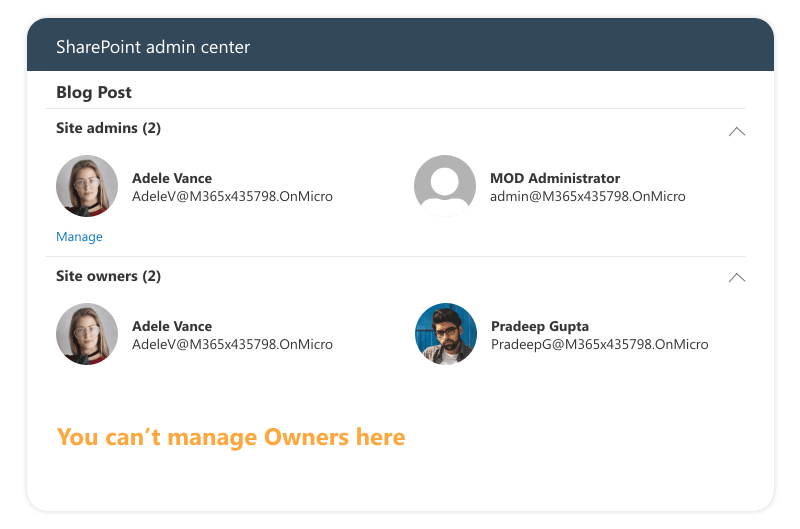 managing admins in SharePoint admin center