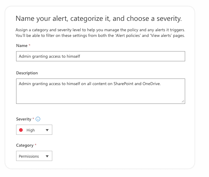 Create Office 365 security alert - Name your alert