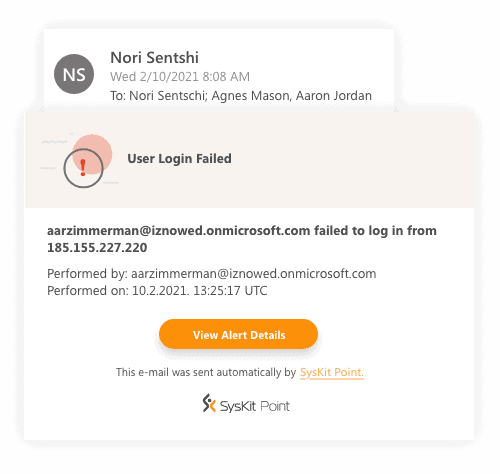 Office 365 alerts email notification