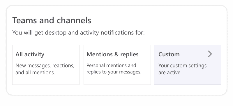 Teams and channels notifications