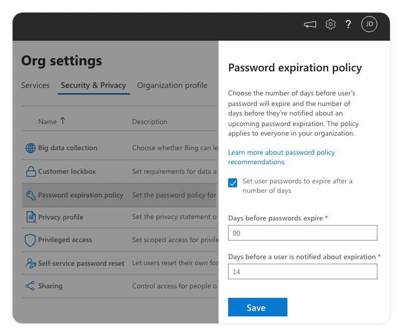 Password expiration policy Office 365