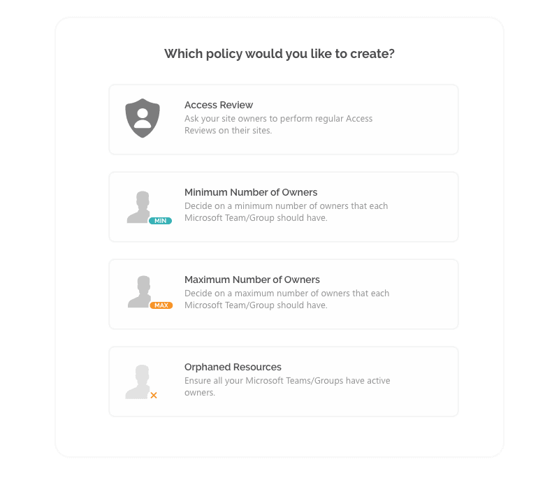 Select the Office 365 governance policy type