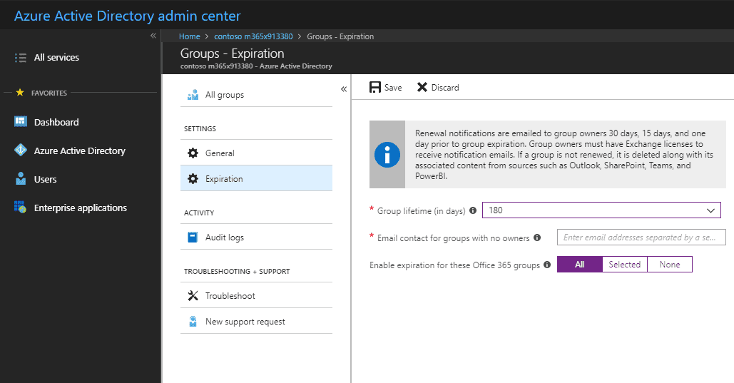 Office 365 Groups governance - expiration policy setup