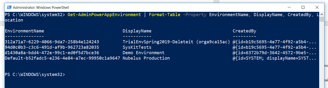 Listed Environments Tenant