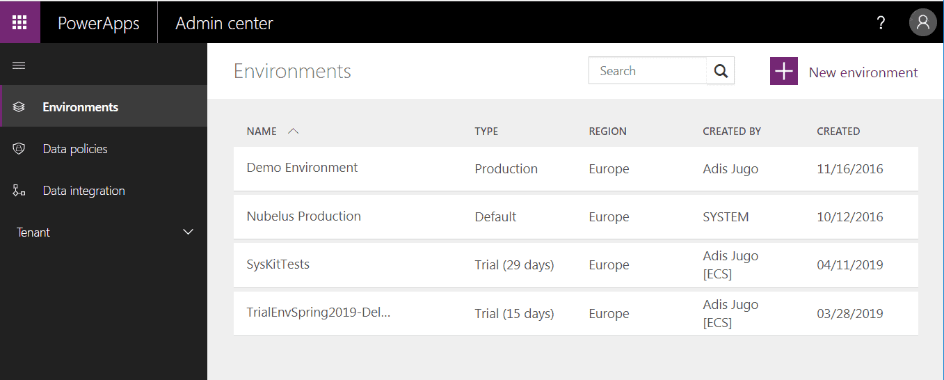 Microsoft PowerApps Environments Admin Center