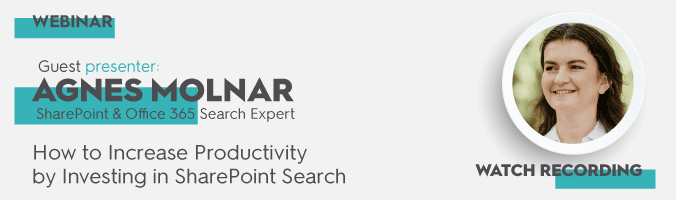 Improve SharePoint Search – Webinar by Agnes Molnar - featured image
