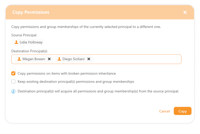 Copy Office 365 permisisons between users on multiple site collections
