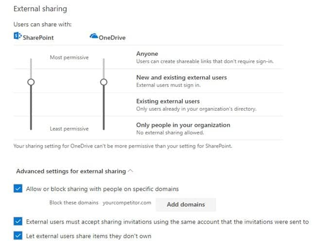 Office 365 best practices: configuring external sharing