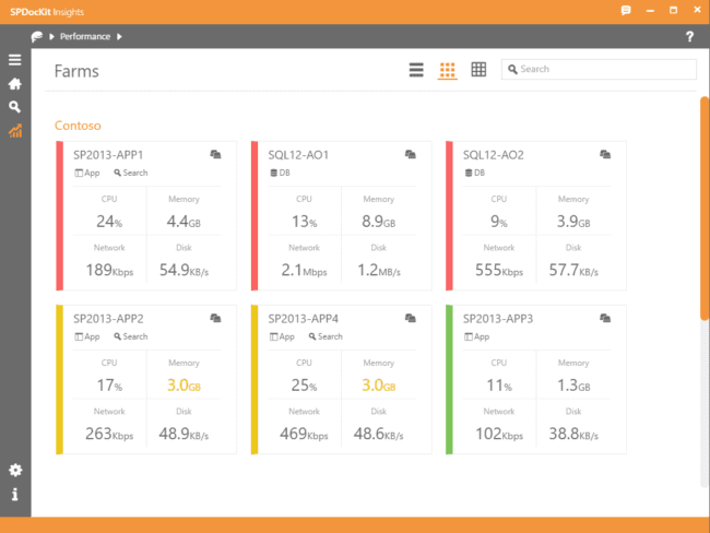 Performance dashboard - track server roles, RAM, CPU and disk data. Colored tiles will instantly notify you when a server reaches a critical state