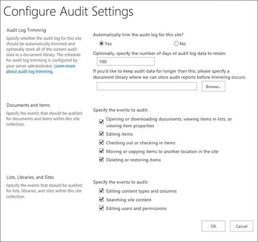 Configuring SharePoint Farm Audit Logs