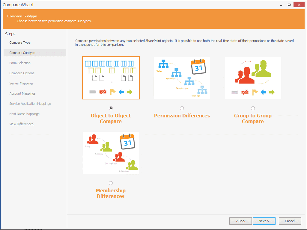 SharePoint Permissions Compare options - track changes, compare object to object or two groups, and track group membership differences