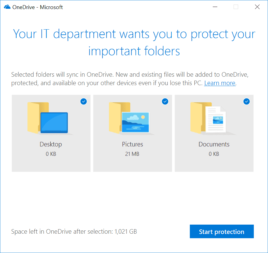 OneDrive for Business setting up known folder move
